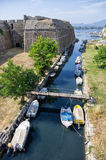 Moat under the fortress in the old town of Corfu island, Greece. Moat under the fortress in the old town of Corfu island Royalty Free Stock Photo