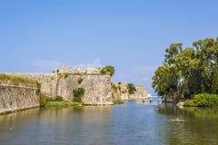 Moat and walls of the Venetian Castle of Agia Mavra - Greek island of Lefkada Stock Photos