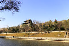 The moat of the xian circumvallation in winter. Xian ancient city, shaanxi province, china. xian wall is chinese largest existing and most preserved ancient city stock photo
