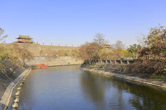 Moat of the xian circumvallation in winter. Xian ancient city, shaanxi province, china. xian wall is chinese largest existing and most preserved ancient city stock image