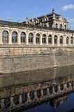 Moat at zwinger, dresden. External fortification wall and moat at a famous palace and  museum  in dresden, the baroque building has been  rebuilt after second Royalty Free Stock Photos