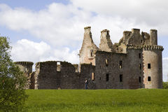 moated caerlaverock的城堡 免版税库存照片