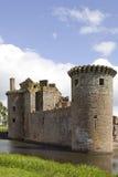 moated caerlaverock的城堡 库存图片