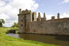 moated caerlaverock的城堡 图库摄影