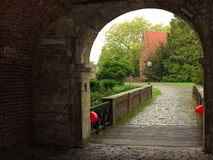 Moated castle entry area Royalty Free Stock Image