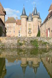 Moated Castle La Clayette Stock Photo