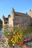 Moated Castle La Clayette Stock Images