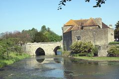 Moated old gatehouse and a bridge, Leeds castle, England Royalty Free Stock Photo