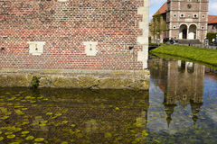 Moated Schloss Raesfeld und Kapelle St. Sebastian Stockfotos