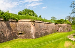 Moats and fortifications of Neuf-Brisach, France. Moats and fortifications of Neuf-Brisach conceived by Vauban - Alsace, France Royalty Free Stock Photos