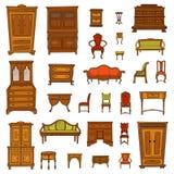 A mobília antiga ajustou - o armário, o nightstand, as cadeiras, os nightstands e os departamentos ilustração royalty free