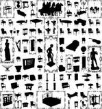 Mobília antiga e objetos cem Lar do vetor Fotografia de Stock Royalty Free