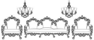 Mobília barroco ajustada com ornamento luxuosos Estrutura intrincada rica luxuosa francesa do vetor Estilo real vitoriano Imagens de Stock Royalty Free