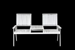Mobília branca da cadeira do ferro isolada no preto Imagens de Stock Royalty Free