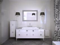 Mobília branca lustrosa no banheiro Imagem de Stock