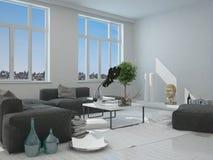 Mobília cinzenta e branca dentro de uma casa Imagens de Stock Royalty Free