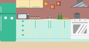 Mobília da cozinha Vetor Projeto liso ilustração do vetor