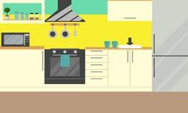 Mobília da cozinha Vetor Projeto liso ilustração royalty free