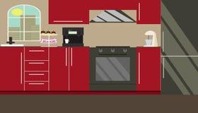 Mobília da cozinha Vetor Projeto liso ilustração stock