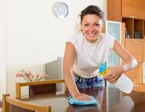 Mobília da limpeza da mulher em casa Imagens de Stock Royalty Free