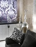 Mobília da prata do sofá do preto do ônibus da sala de visitas Foto de Stock Royalty Free