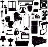 Mobília das silhuetas e outros objetos Foto de Stock
