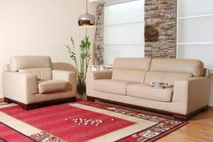 Mobília do couro branco Imagem de Stock Royalty Free