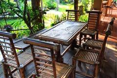 Mobília do jardim feita do bambu Fotos de Stock Royalty Free