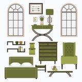 Mobília e acessórios home no verde da cor Fotografia de Stock