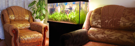 Mobília e aquário Fotos de Stock