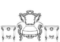 Mobília e quadros de Rich Imperial Baroque Rococo ajustados Luxo francês ornamento cinzelados Estilo excelente vitoriano do vetor Imagens de Stock