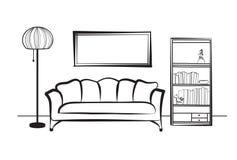 Mobília interior com sofá, lâmpada de assoalho, biblioteca, livros e Fotografia de Stock