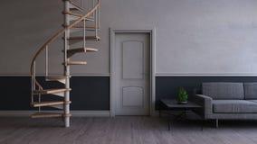mobília interior e moderna da sala de visitas 3D contemporânea ilustração do vetor