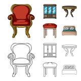 Mobília, interior, projeto, cadeira Mobília e ícones home da coleção do interiorset nos desenhos animados, vetor do estilo do esb Imagem de Stock