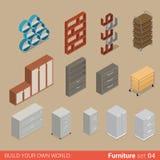 Mobília isométrica do vetor liso do armário de armazenamento do dobrador do escritório ilustração royalty free