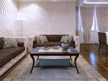 Mobília marrom bonita na sala de visitas Imagens de Stock Royalty Free
