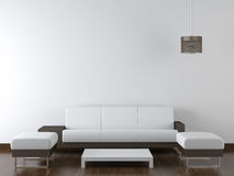 Mobília moderna do projeto interior na parede branca foto de stock royalty free
