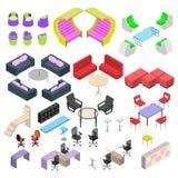 Mobília moderna no estilo isométrico, um grande grupo de mobília criativa Imagens de Stock