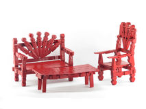 Mobília vermelha do Clothespin Fotos de Stock