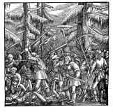 A mob of fighting peasants, woodcut (1522) Stock Photo