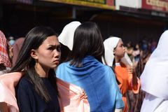 Mob of furious women persecuting Jesus Christ gaher on plaza cheering, ridicule, street drama, community celebrates Good Friday re. San Pablo City, Laguna royalty free stock photos