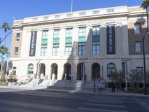 Mob Museum building, Las Vegas. The Mob Museum, officially the National Museum of Organized Crime and Law Enforcement, is a history museum located in Downtown stock image