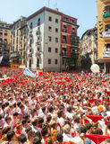 Mob waiting the opening of  San Fermin festival Royalty Free Stock Photos