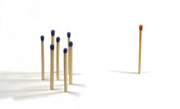 Mobbing. Some matches as symbol for bullying at work stock photo