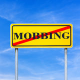 Mobbing forbidden traffic warning sign Royalty Free Stock Photography