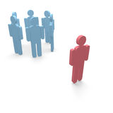 Mobbing. Person stand outside from a group Royalty Free Stock Image