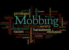 Mobbing, word cloud concept 2. Mobbing, word cloud concept on black background Royalty Free Stock Image