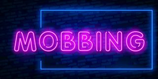 Neon sign Mobbing word concept. Neon Mobbing Text Vector With Brick Wall Background. design template modern trend design night stock illustration