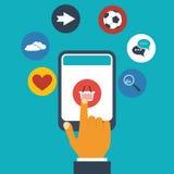 Mobiel app concept - de vinger drukt een pictogram royalty-vrije illustratie