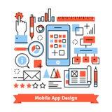 Mobiel app ontwikkelingsprocesconcept stock illustratie
